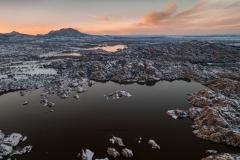 Frozen Sunset Over Watson Lake