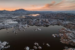 Frozen Sunset Over Watson Lake